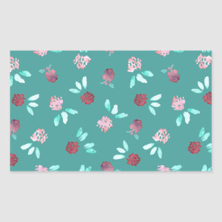Clover Flowers Glossy Rectangle Sticker