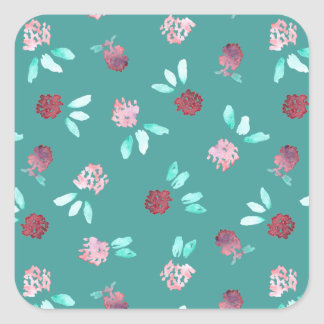 Clover Flowers Large Glossy Square Sticker