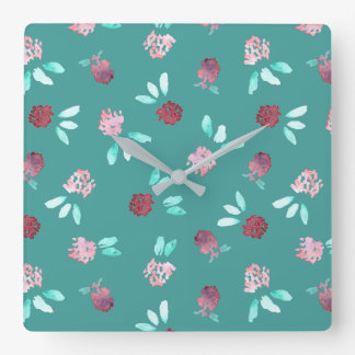 Clover Flowers Square Wall Clock
