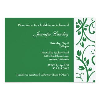Clover Green Floral Vine Bridal Shower Invitation