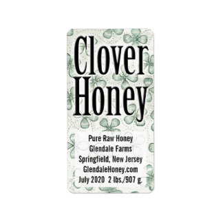 Clover Honey 5-line Personalized Label