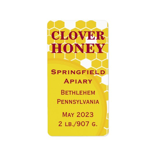 Clover Honeycomb Honey Jar Label
