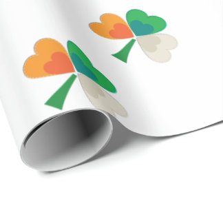 clover in irish flag colors wrapping paper