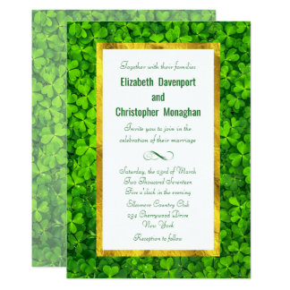 Clover Leaf Field with FAUX Gold Foil Frame Card