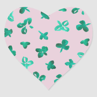 Clover Leaves Glossy Small Heart Sticker