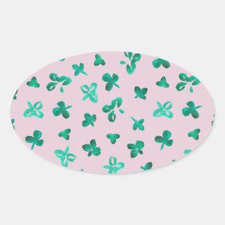 Clover Leaves Matte Oval Sticker