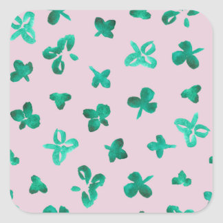 Clover Leaves Matte Small Square Sticker