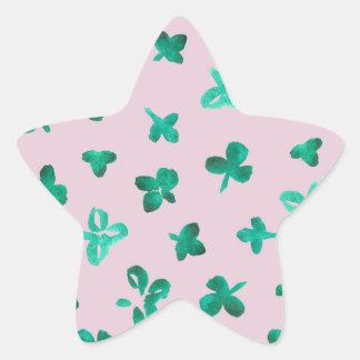Clover Leaves Matte Star Sticker
