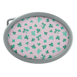 Clover Leaves Oval Belt Buckle