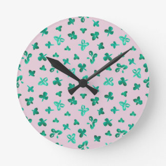 Clover Leaves Round Medium Wall Clock