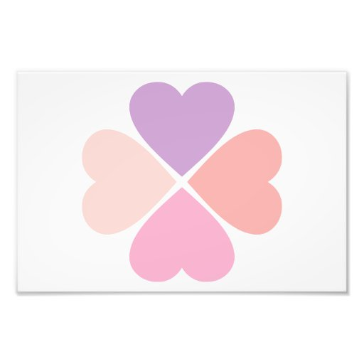 Clover of the pink love of hearts of San Valentin Photo Art
