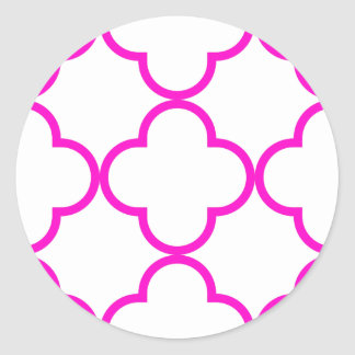 Clover Pattern 1 Pink Classic Round Sticker