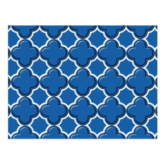 Clover Pattern 2 Dazzling Blue Postcards
