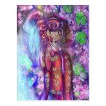 Clovers and Cherry Blossoms Geisha Postcard