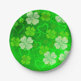 Clovers and Hearts Paper Plate