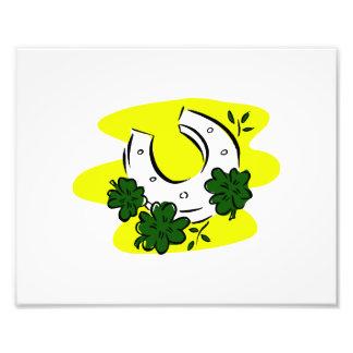 clovers horseshoe saint pat day design.png photographic print