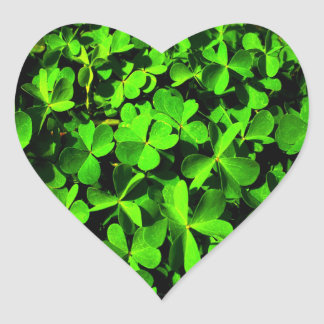 Clovers of Luck on St. Patrick's Day Heart Stickers