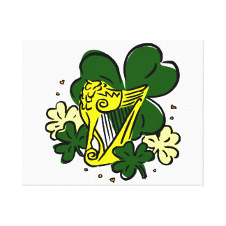 clovers yellow harp saint paddy.png canvas prints