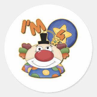 Clown 4th Birthday Round Sticker