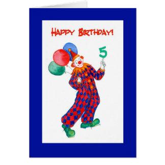 Clown 5th Birthday Card