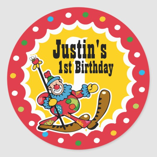 Clown Around 1st Birthday Custom Sticker