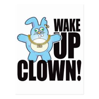 Clown Bad Bun Wake Postcard