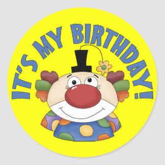 Clown Birthday Classic Round Sticker