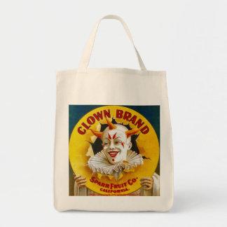 """Clown Brand citrus crate label, circa 1940"" Grocery Tote Bag"