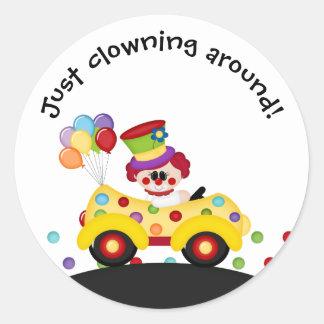Clown Car Dots Balloons Funny Kid's Sticker