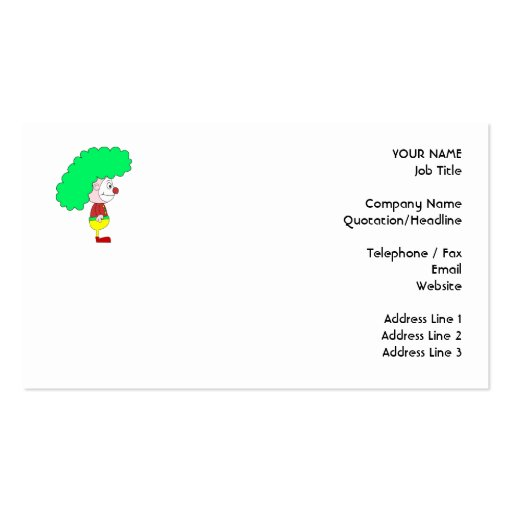 Collections of funny clown business cards clown cartoon yellow red and green business card templates colourmoves