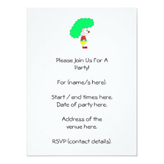 Clown Cartoon. Yellow, red and green. Card