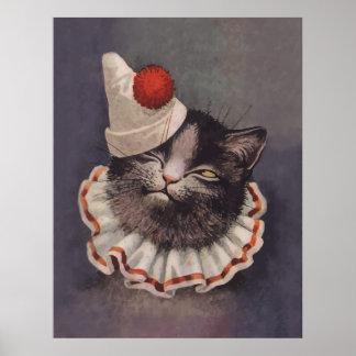 Clown Cat Poster