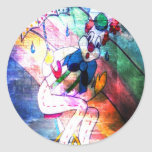CLOWN CAUGHT IN RAIN.jpg Round Sticker