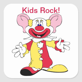 Clown Design Kids Rock! Square Sticker