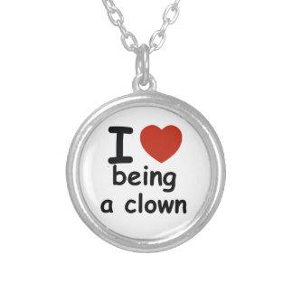 clown design round pendant necklace