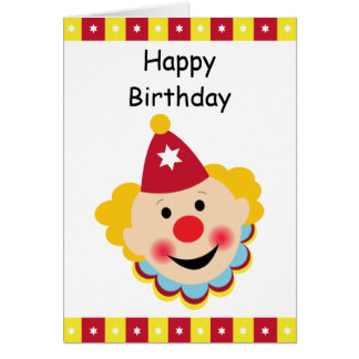 Clown Face Happy Birthday Card