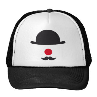 clown face with hat, red nose and mustache