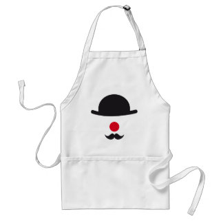 clown face with hat, red nose and mustache adult apron