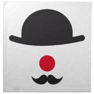 clown face with hat, red nose and mustache napkin