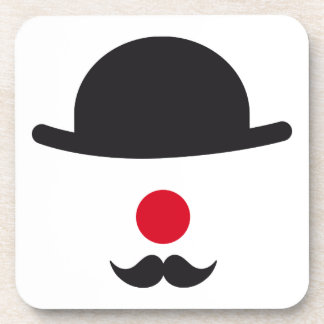 clown face with hat red nose and mustache drink coasters
