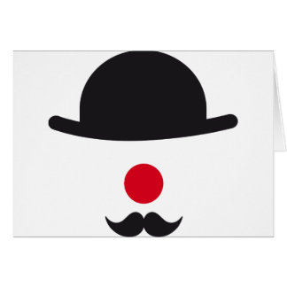 clown face with hat, red nose and mustache greeting card