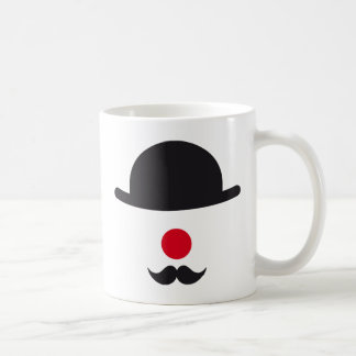 clown face with hat, red nose and mustache mug