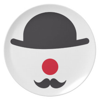 clown face with hat, red nose and mustache party plates