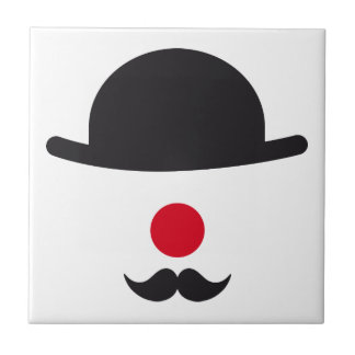 clown face with hat, red nose and mustache ceramic tiles