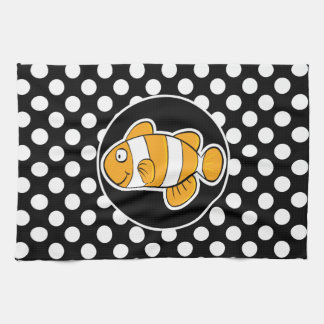 Clown fish on Black and White Polka Dots Tea Towel