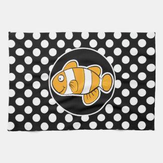 Clown fish on Black and White Polka Dots Tea Towel