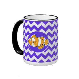 Clown Fish on Blue Violet Chevron Mugs
