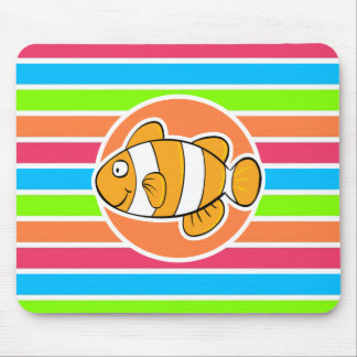 Clown Fish Retro Neon Rainbow Mouse Pads
