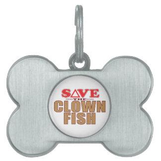 Clown Fish Save Pet Name Tag