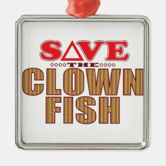 Clown Fish Save Silver-Colored Square Decoration